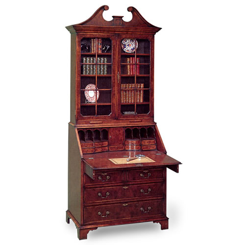 Bureau Bookcase with Swan Neck Pediment (Item #2307) - Antique Reproduction Secretary, Antique Secretary, Reproduction